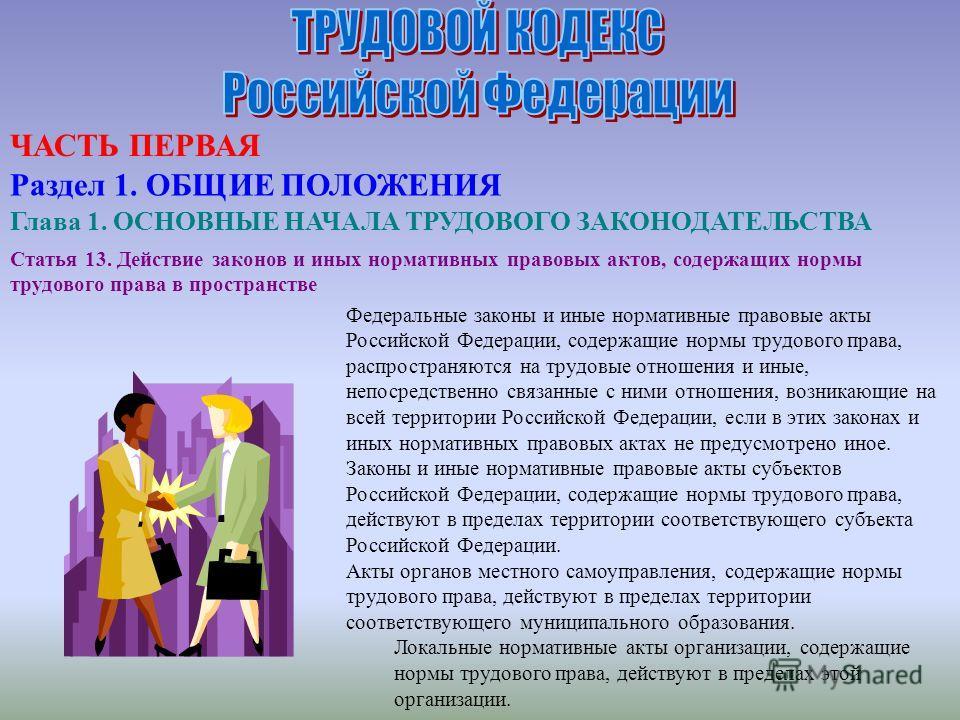 Статья 13. Действие законов и иных нормативных правовых актов, содержащих нормы трудового права в пространстве Федеральные законы и иные нормативные правовые акты Российской Федерации, содержащие нормы трудового права, распространяются на трудовые от