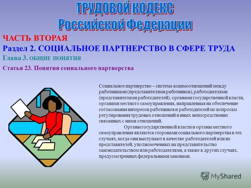 Статья 23. Понятия социального партнерства Социальное партнерство – система взаимоотношений между работниками (представителями работников), работодателями (представителями работодателей), органами государственной власти, органами местного самоуправле
