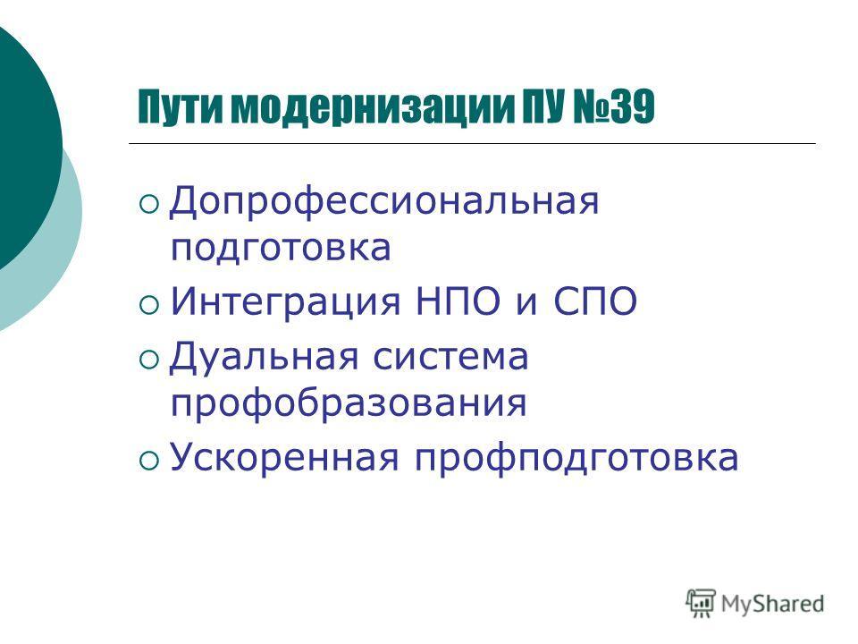 Пути модернизации ПУ 39 Допрофессиональная подготовка Интеграция НПО и СПО Дуальная система профобразования Ускоренная профподготовка