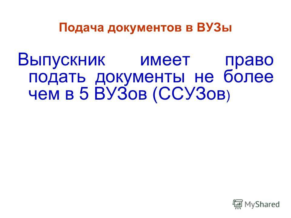 Подача документов в ВУЗы Выпускник имеет право подать документы не более чем в 5 ВУЗов (ССУЗов )