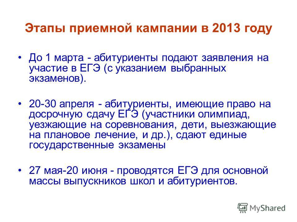 Этапы приемной кампании в 2013 году До 1 марта - абитуриенты подают заявления на участие в ЕГЭ (с указанием выбранных экзаменов). 20-30 апреля - абитуриенты, имеющие право на досрочную сдачу ЕГЭ (участники олимпиад, уезжающие на соревнования, дети, в