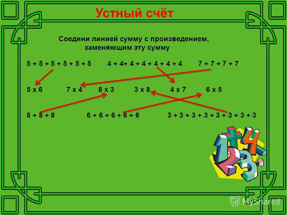 Устный счёт 5 + 5 + 5 + 5 + 5 + 5 4 + 4+ 4 + 4 + 4 + 4 + 4 7 + 7 + 7 + 7 5 х 6 7 х 4 8 х 3 3 х 8 4 х 7 6 х 5 8 + 8 + 8 6 + 6 + 6 + 6 + 6 3 + 3 + 3 + 3 + 3 + 3 + 3 + 3 Соедини линией сумму с произведением, заменяющим эту сумму