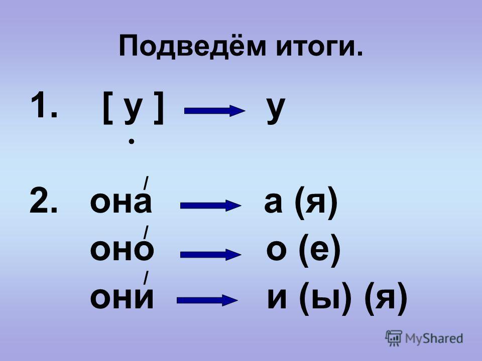 Подведём итоги. 1. [ у ] у 2. она а (я) оно о (е) они и (ы) (я) / / /