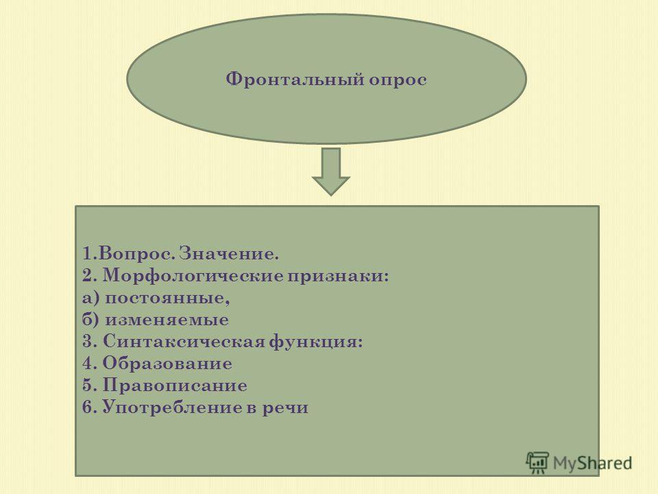 Фронтальный опрос 1.Вопрос. Значение. 2. Морфологические признаки: а) постоянные, б) изменяемые 3. Синтаксическая функция: 4. Образование 5. Правописание 6. Употребление в речи