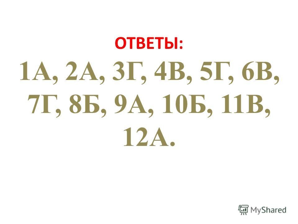 ОТВЕТЫ: 1А, 2А, 3Г, 4В, 5Г, 6В, 7Г, 8Б, 9А, 10Б, 11В, 12А.