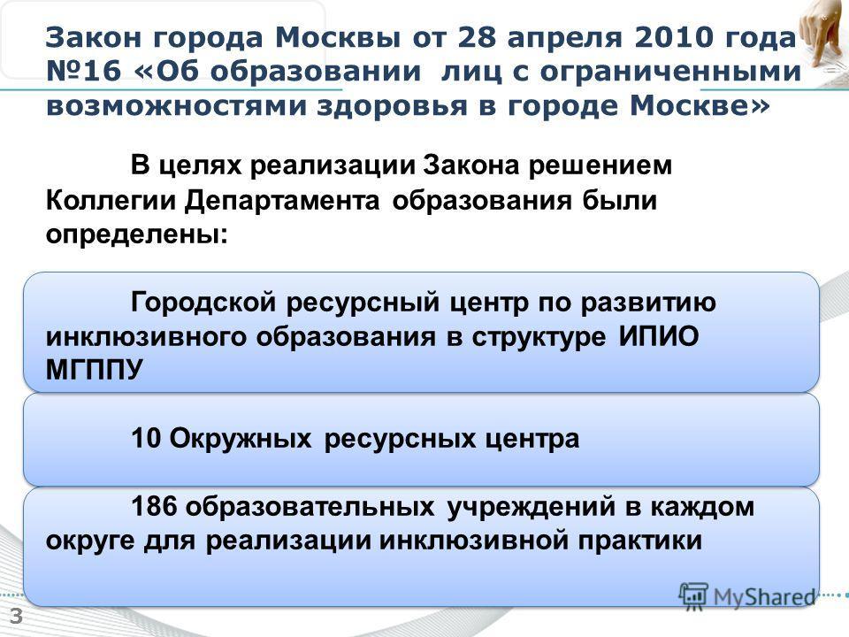 3 Закон города Москвы от 28 апреля 2010 года 16 «Об образовании лиц с ограниченными возможностями здоровья в городе Москве» В целях реализации Закона решением Коллегии Департамента образования были определены: Городской ресурсный центр по развитию ин
