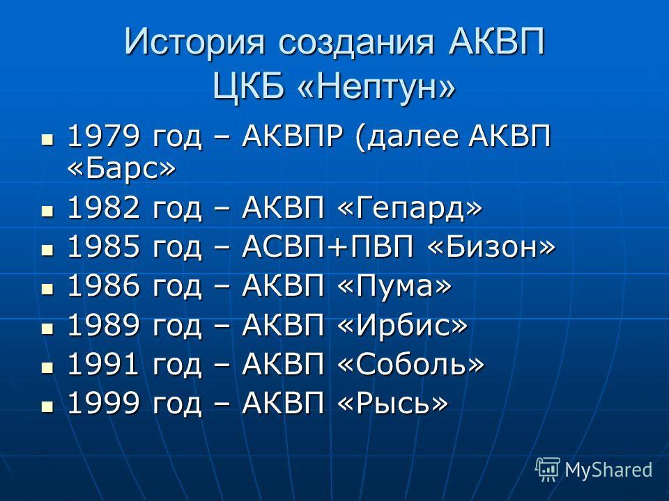 История создания АКВП ЦКБ «Нептун» 1979 год – АКВПР (далее АКВП «Барс» 1979 год – АКВПР (далее АКВП «Барс» 1982 год – АКВП «Гепард» 1982 год – АКВП «Гепард» 1985 год – АСВП+ПВП «Бизон» 1985 год – АСВП+ПВП «Бизон» 1986 год – АКВП «Пума» 1986 год – АКВ