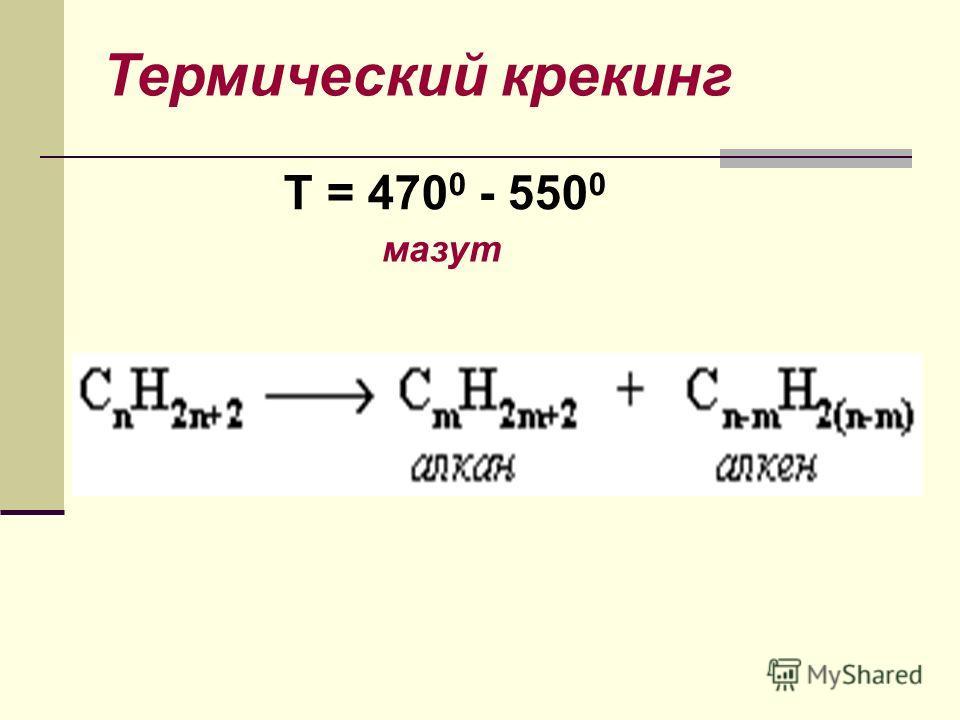 Крекинг Крекинг - реакции расщепления углеродного скелета крупных молекул при нагревании и в присутствии катализаторов. термический каталитический