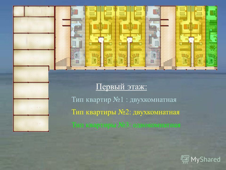 Первый этаж: Тип квартиры 2: двухкомнатная Тип квартиры 3: однокомнатная Тип квартир 1 : двухкомнатная