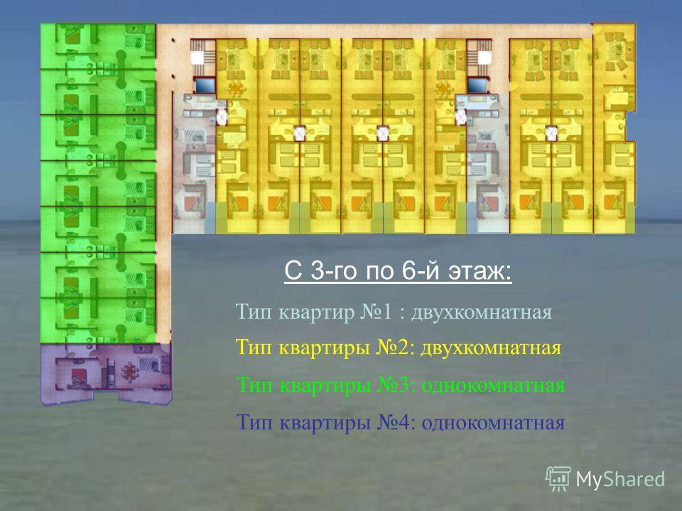 Тип квартир 1 : двухкомнатная Тип квартиры 2: двухкомнатная Тип квартиры 3: однокомнатная С 3-го по 6-й этаж: Тип квартиры 4: однокомнатная