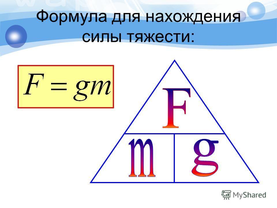 Формула для нахождения силы тяжести: