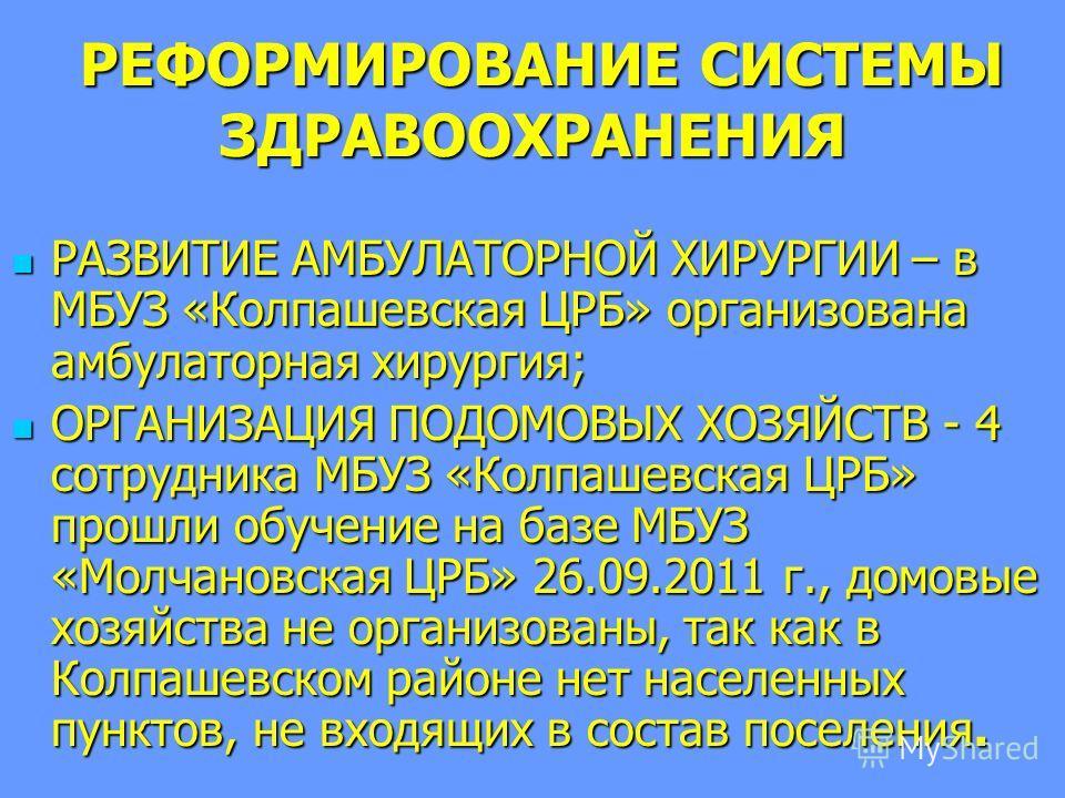 РЕФОРМИРОВАНИЕ СИСТЕМЫ ЗДРАВООХРАНЕНИЯ РЕФОРМИРОВАНИЕ СИСТЕМЫ ЗДРАВООХРАНЕНИЯ РАЗВИТИЕ АМБУЛАТОРНОЙ ХИРУРГИИ – в МБУЗ «Колпашевская ЦРБ» организована амбулаторная хирургия; РАЗВИТИЕ АМБУЛАТОРНОЙ ХИРУРГИИ – в МБУЗ «Колпашевская ЦРБ» организована амбул