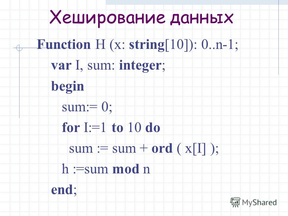 Хеширование данных Function H (x: string[10]): 0..n-1; var I, sum: integer; begin sum:= 0; for I:=1 to 10 do sum := sum + ord ( x[I] ); h :=sum mod n end;