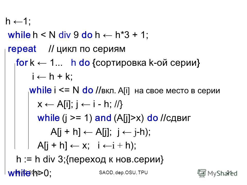 09.12.2013SAOD, dep.OSU, TPU21 h 1; while h < N div 9 do h h*3 + 1; repeat // цикл по сериям for k 1... h do {сортировка k-ой серии} i h + k; while i = 1) and (A[j]>x) do //сдвиг A[j + h] A[j]; j j -h); A[j + h] x; ii + h); h := h div 3;{переход к но