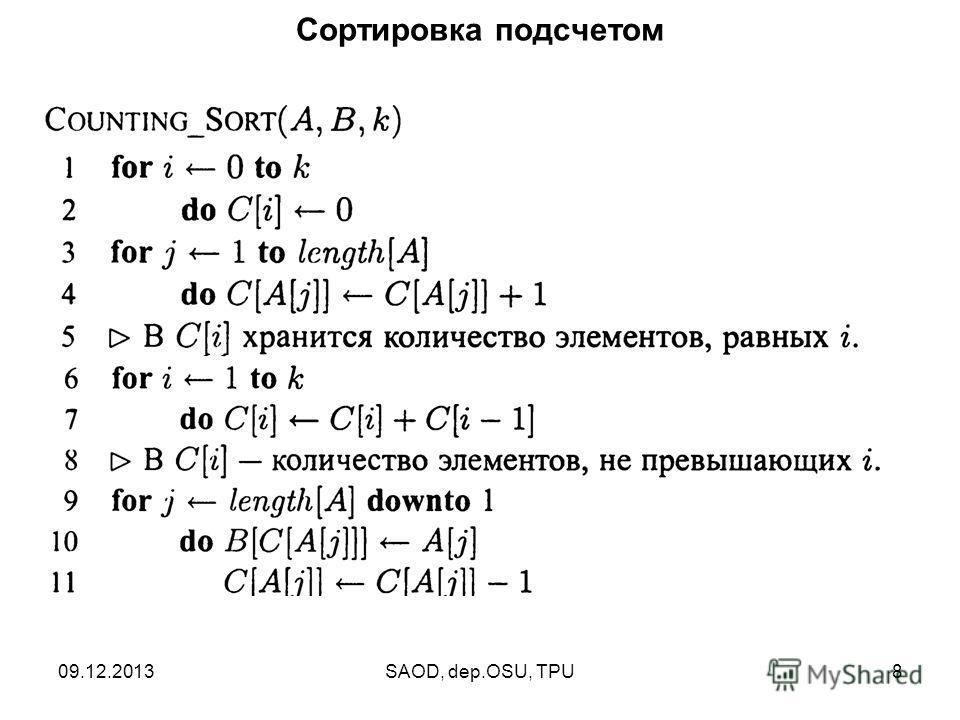 09.12.2013SAOD, dep.OSU, TPU8 Сортировка подсчетом