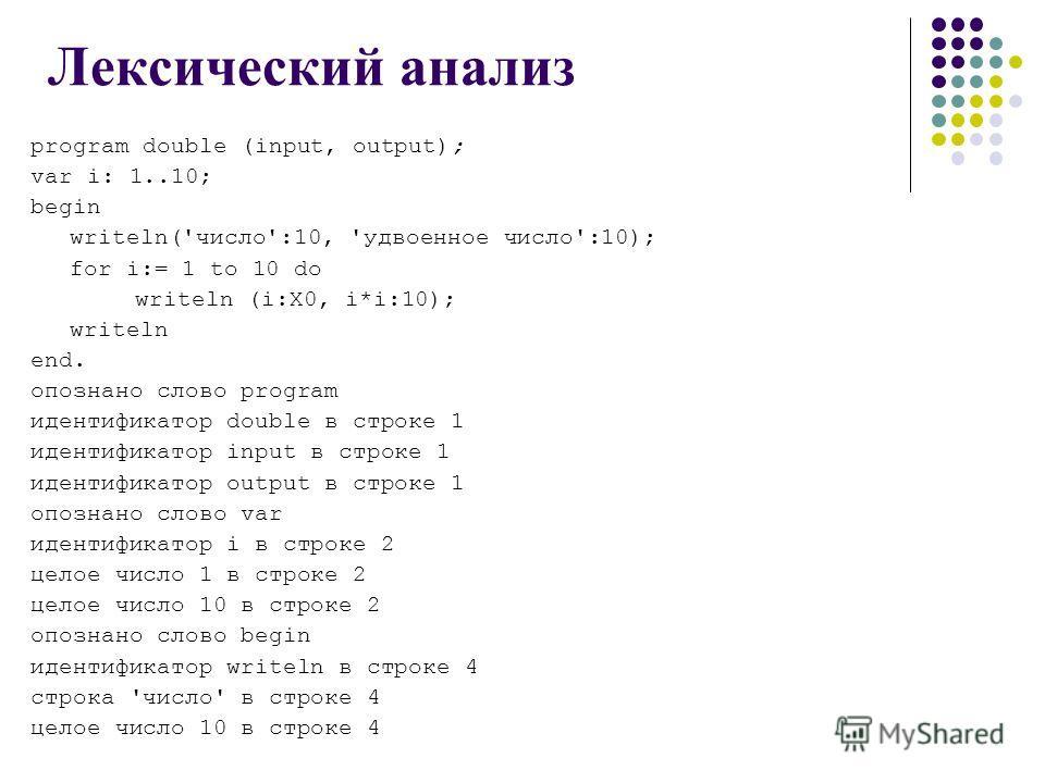 Лексический анализ program double (input, output); var i: 1..10; begin writeln('число':10, 'удвоенное число':10); for i:= 1 to 10 do writeln (i:X0, i*i:10); writeln end. опознано слово program идентификатор double в строке 1 идентификатор input в стр
