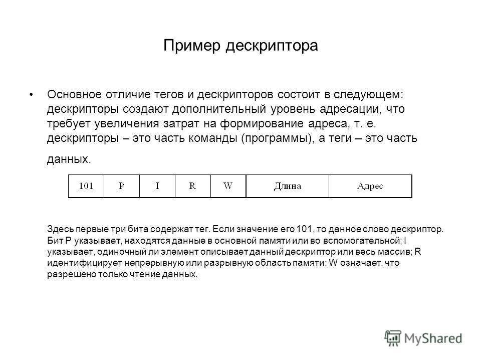 Пример дескриптора Основное отличие тегов и дескрипторов состоит в следующем: дескрипторы создают дополнительный уровень адресации, что требует увеличения затрат на формирование адреса, т. е. дескрипторы – это часть команды (программы), а теги – это