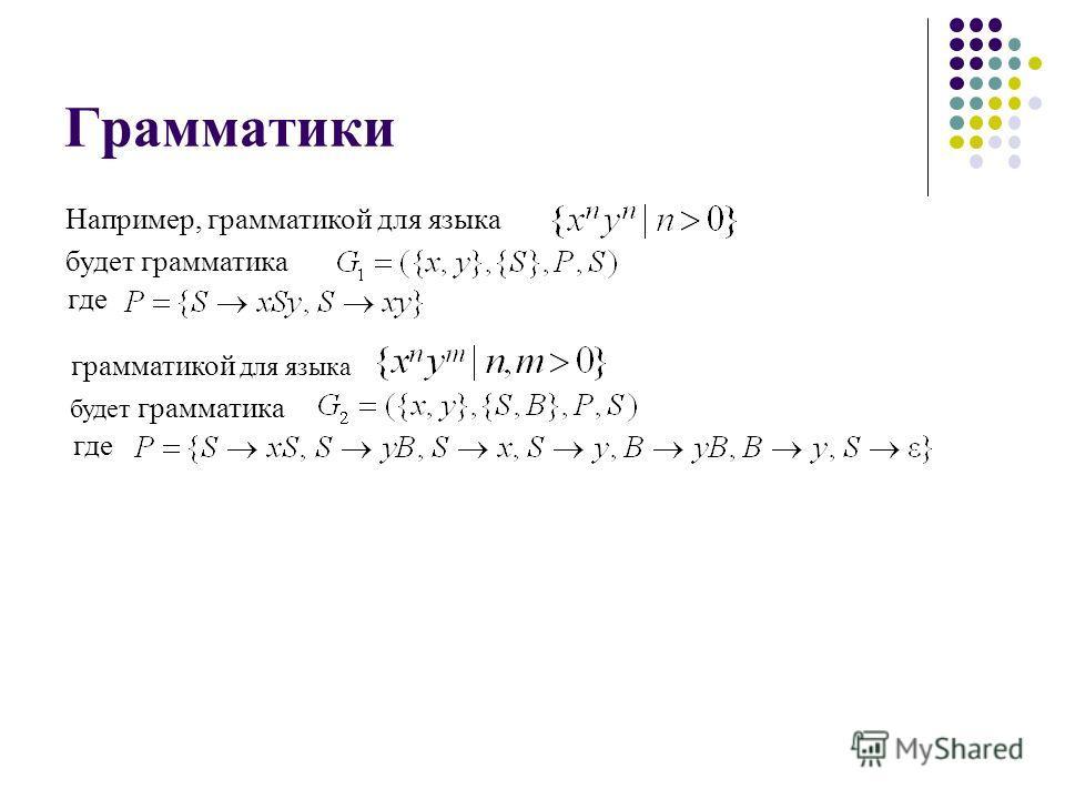 Грамматики Например, грамматикой для языка будет грамматика где грамматикой для языка будет грамматика где