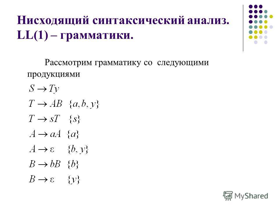 Нисходящий синтаксический анализ. LL(1) – грамматики. Рассмотрим грамматику со следующими продукциями
