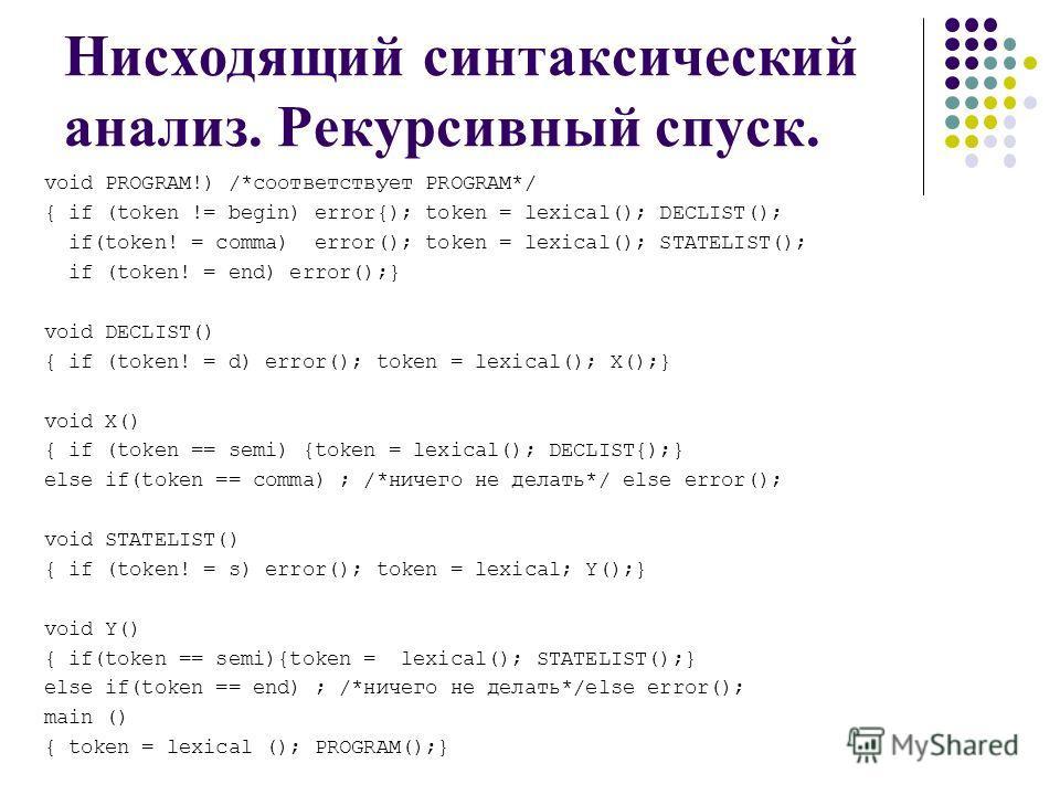 Нисходящий синтаксический анализ. Рекурсивный спуск. void PROGRAM!) /*соответствует PROGRAM*/ { if (token != begin) error{); token = lexical(); DECLIST(); if(token! = comma) error(); token = lexical(); STATELIST(); if (token! = end) error();} void DE