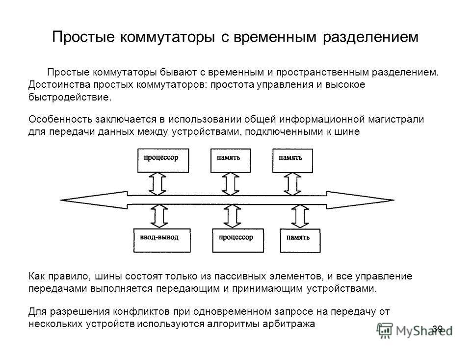 39 Простые коммутаторы с временным разделением Простые коммутаторы бывают с временным и пространственным разделением. Достоинства простых коммутаторов: простота управления и высокое быстродействие. Особенность заключается в использовании общей информ