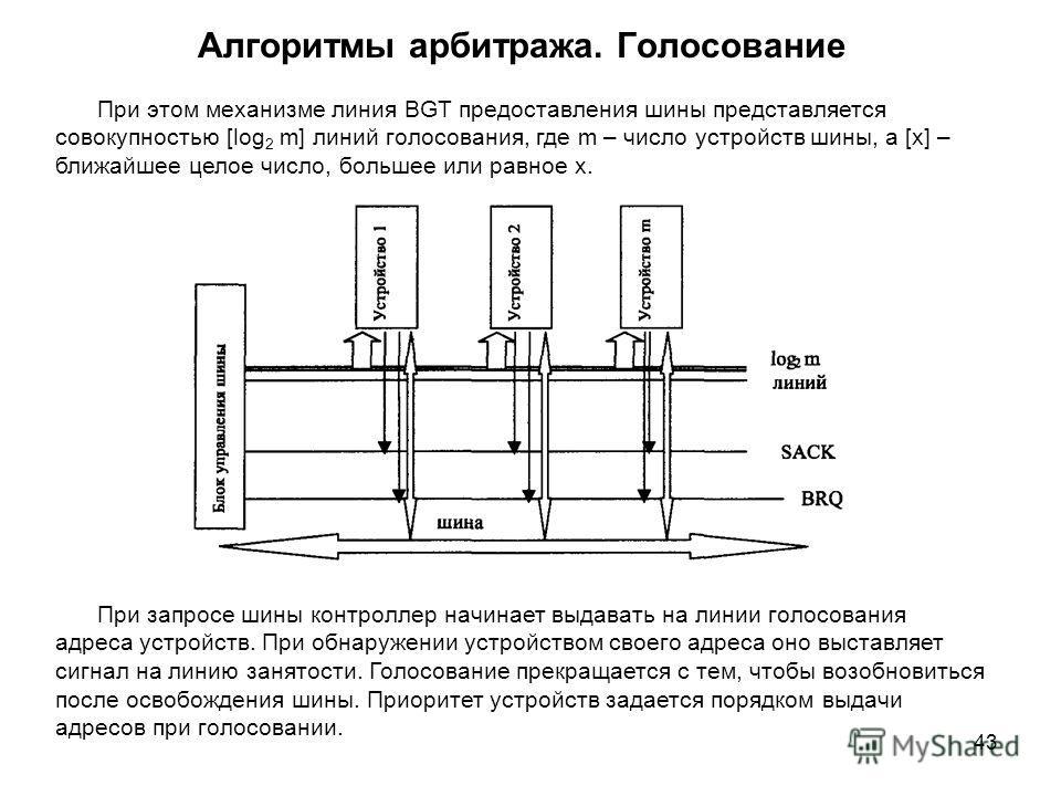 43 Алгоритмы арбитража. Голосование При этом механизме линия BGT предоставления шины представляется совокупностью [log 2 m] линий голосования, где m – число устройств шины, а [x] – ближайшее целое число, большее или равное x. При запросе шины контрол