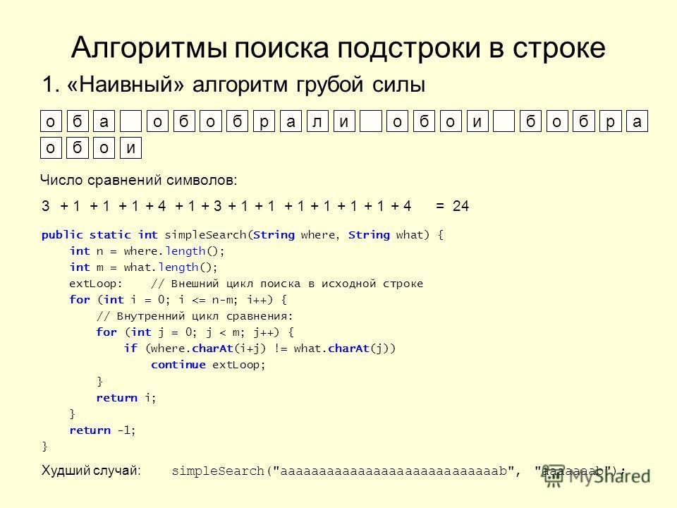 Алгоритмы поиска подстроки в строке 1. «Наивный» алгоритм грубой силы оба обобрали обои бобра обои Число сравнений символов: 3+ 1 + 4+ 1+ 3+ 1 + 4= 24 public static int simpleSearch(String where, String what) { int n = where.length(); int m = what.le