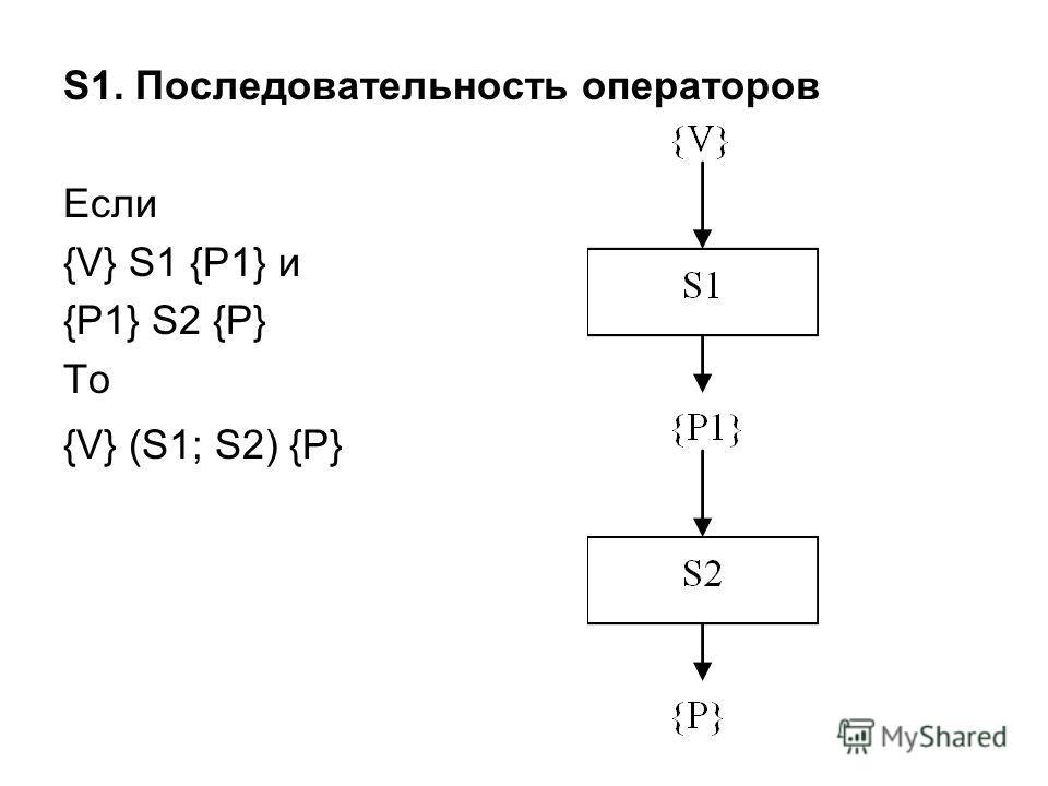 S1. Последовательность операторов Если {V} S1 {P1} и {P1} S2 {P} То {V} (S1; S2) {P}