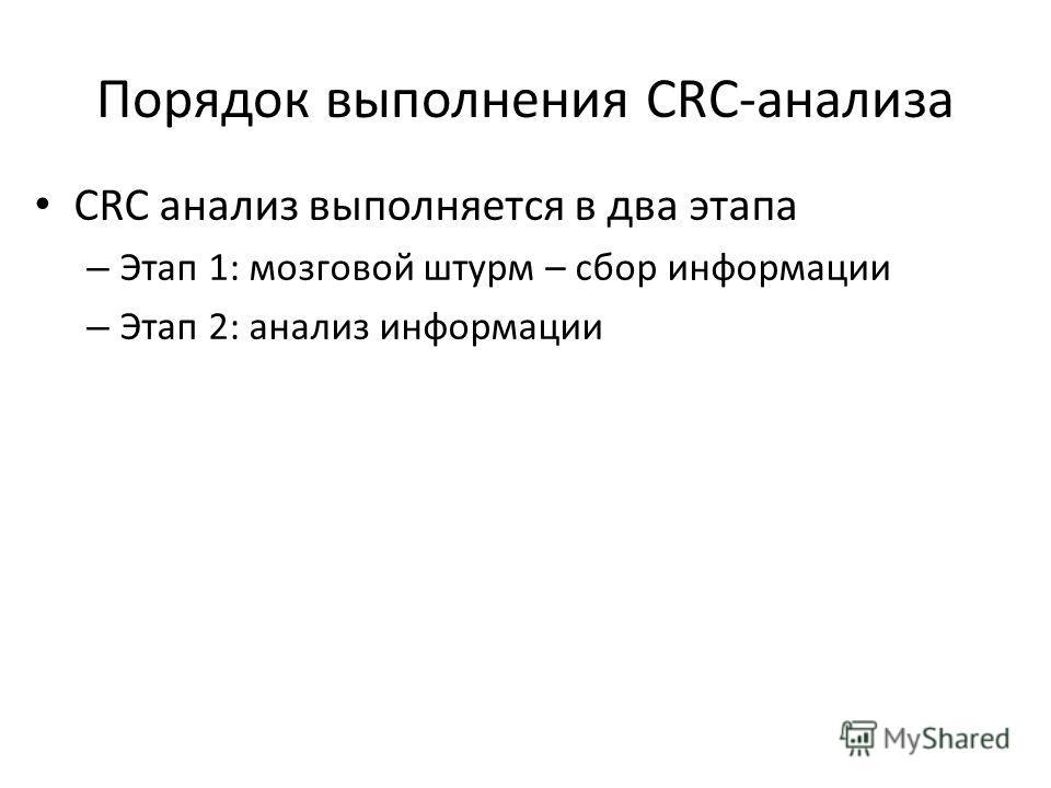 Порядок выполнения CRC-анализа CRC анализ выполняется в два этапа – Этап 1: мозговой штурм – сбор информации – Этап 2: анализ информации