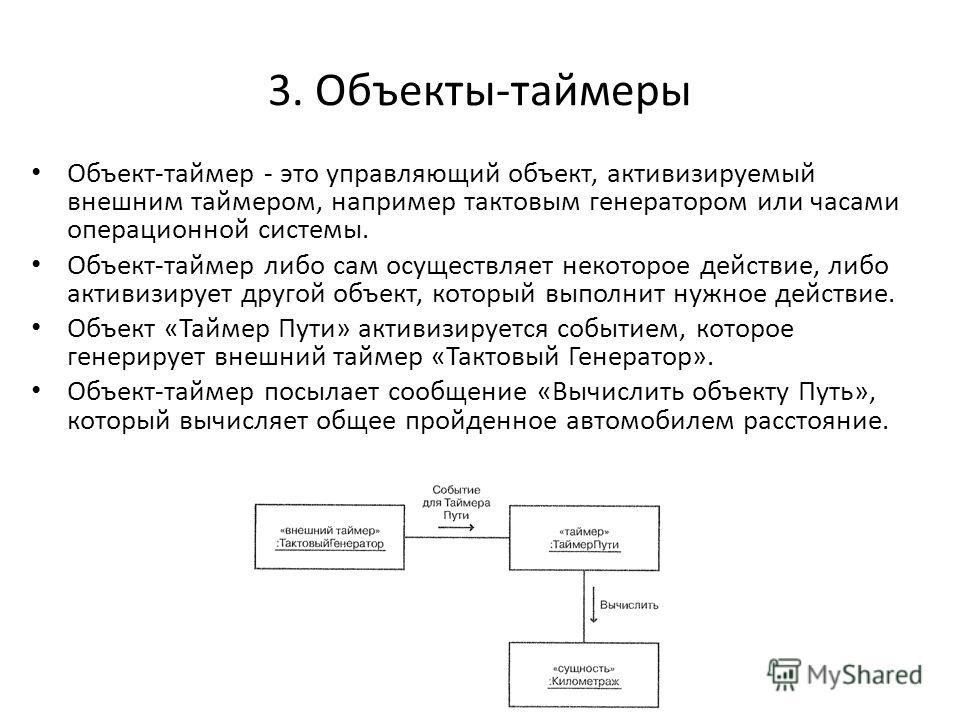 3. Объекты-таймеры Объект-таймер - это управляющий объект, активизируемый внешним таймером, например тактовым генератором или часами операционной системы. Объект-таймер либо сам осуществляет некоторое действие, либо активизирует другой объект, которы