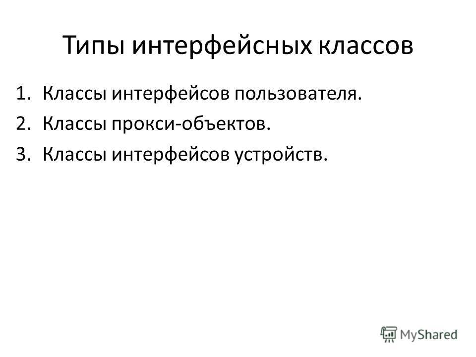 Типы интерфейсных классов 1.Классы интерфейсов пользователя. 2.Классы прокси-объектов. 3.Классы интерфейсов устройств.