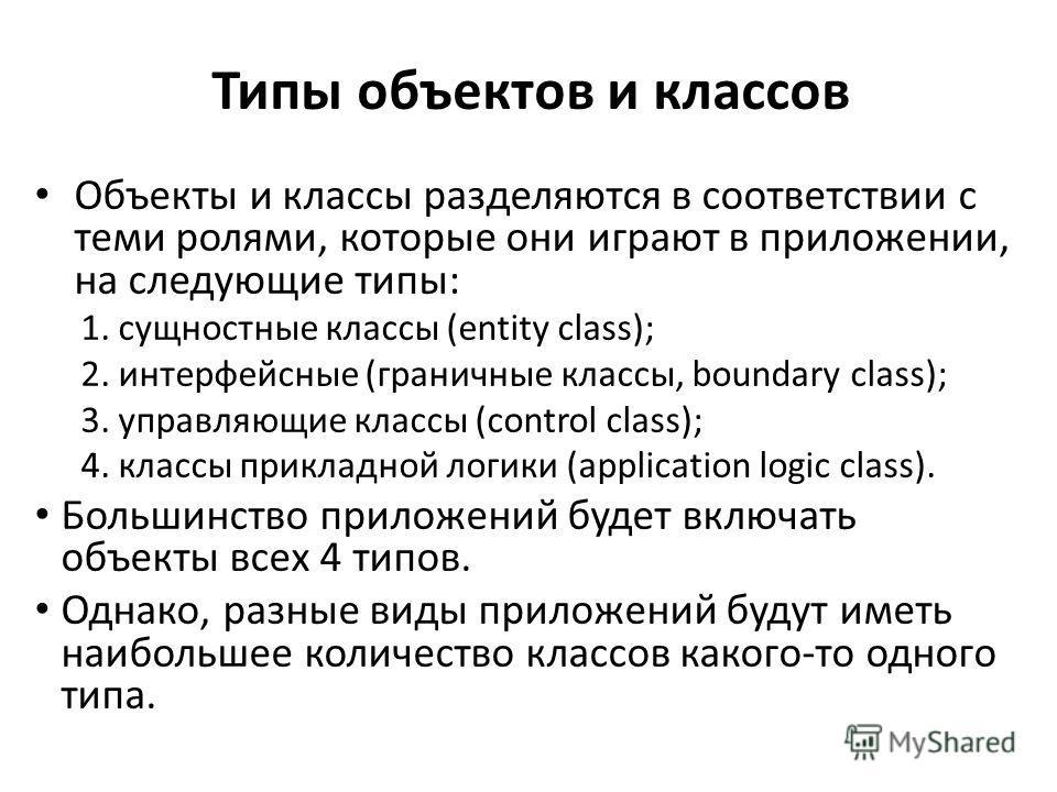 Типы объектов и классов Объекты и классы разделяются в соответствии с теми ролями, которые они играют в приложении, на следующие типы: 1. сущностные классы (entity class); 2. интерфейсные (граничные классы, boundary class); 3. управляющие классы (con