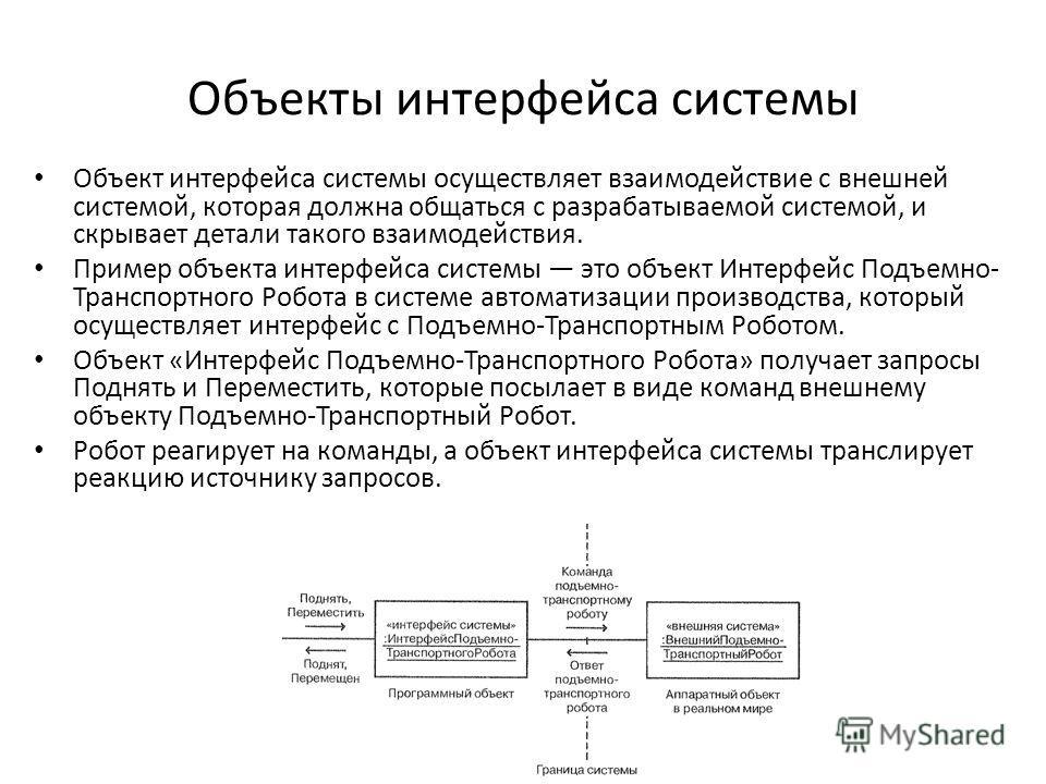 Объекты интерфейса системы Объект интерфейса системы осуществляет взаимодействие с внешней системой, которая должна общаться с разрабатываемой системой, и скрывает детали такого взаимодействия. Пример объекта интерфейса системы это объект Интерфейс П