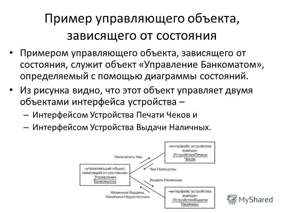 Пример управляющего объекта, зависящего от состояния Примером управляющего объекта, зависящего от состояния, служит объект «Управление Банкоматом», определяемый с помощью диаграммы состояний. Из рисунка видно, что этот объект управляет двумя объектам