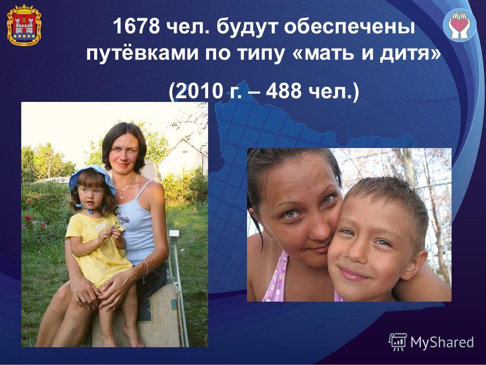 1678 чел. будут обеспечены путёвками по типу «мать и дитя» (2010 г. – 488 чел.)