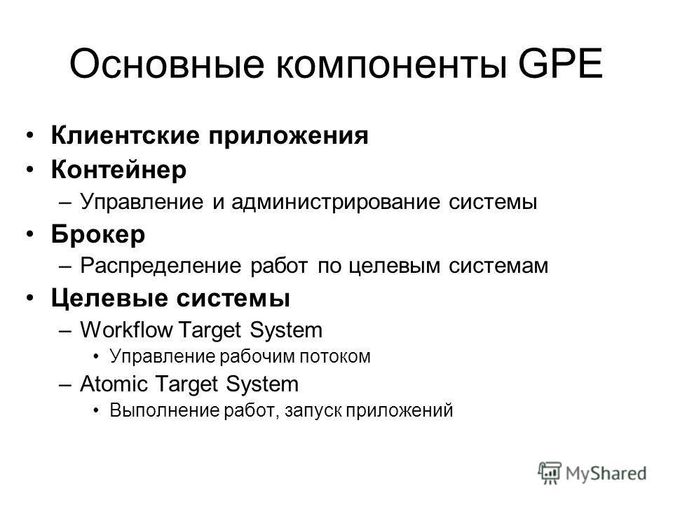 Основные компоненты GPE Клиентские приложения Контейнер –Управление и администрирование системы Брокер –Распределение работ по целевым системам Целевые системы –Workflow Target System Управление рабочим потоком –Atomic Target System Выполнение работ,