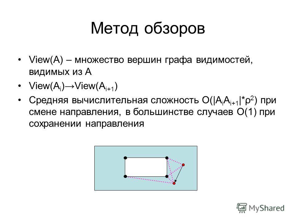 Метод обзоров View(A) – множество вершин графа видимостей, видимых из А View(A i )View(A i+1 ) Средняя вычислительная сложность О( A i A i+1  *ρ 2 ) при смене направления, в большинстве случаев О(1) при сохранении направления