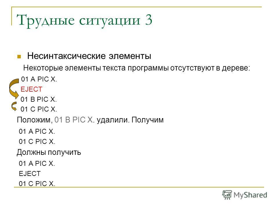 Трудные ситуации 3 Несинтаксические элементы Некоторые элементы текста программы отсутствуют в дереве: 01 A PIC X. EJECT 01 B PIC X. 01 C PIC X. Положим, 01 B PIC X. удалили. Получим 01 A PIC X. 01 C PIC X. Должны получить 01 A PIC X. EJECT 01 C PIC