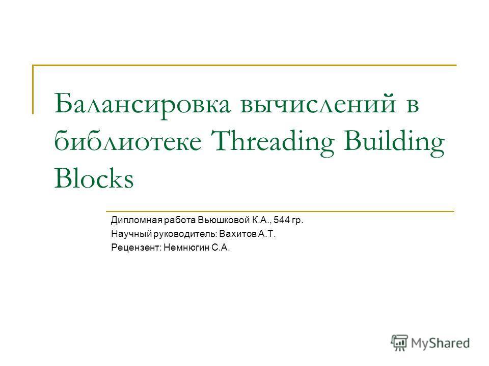 Балансировка вычислений в библиотеке Threading Building Blocks Дипломная работа Вьюшковой К.А., 544 гр. Научный руководитель: Вахитов А.Т. Рецензент: Немнюгин С.А.