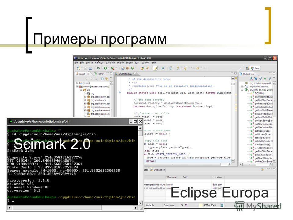 Примеры программ Eclipse Europa Scimark 2.0
