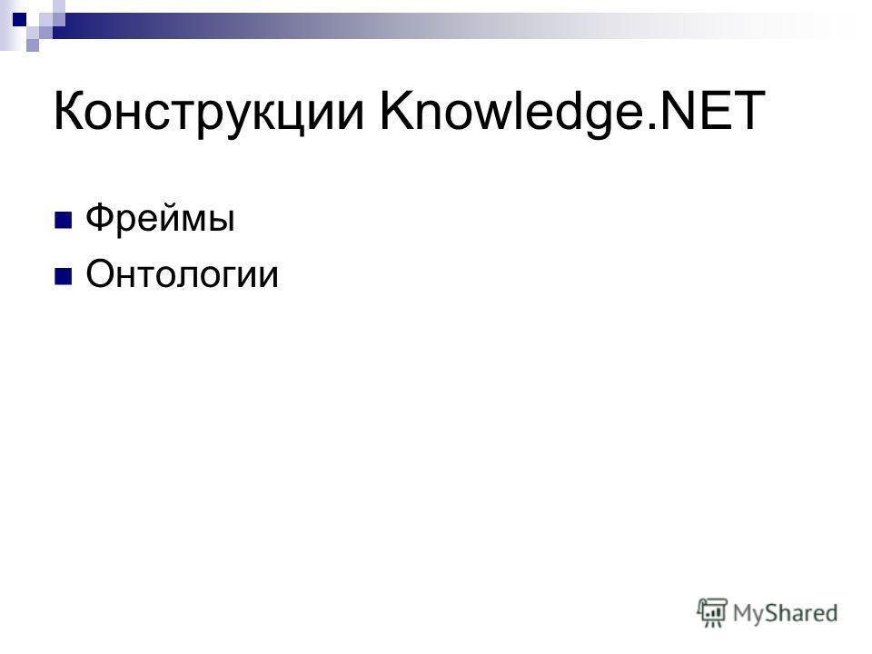 Конструкции Knowledge.NET Фреймы Онтологии