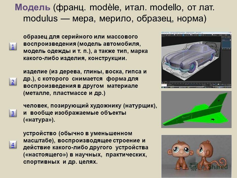 Модель (франц. modèle, итал. modello, от лат. modulus мера, мерило, образец, норма) образец для серийного или массового воспроизведения (модель автомобиля, модель одежды и т. п.), а также тип, марка какого-либо изделия, конструкции. изделие (из дерев