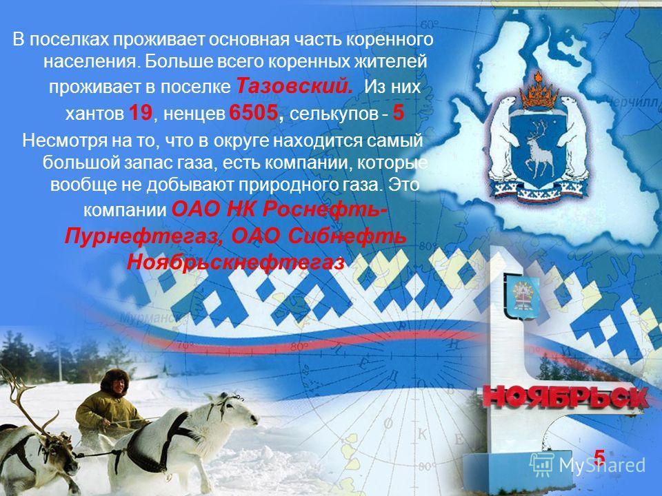 В поселках проживает основная часть коренного населения. Больше всего коренных жителей проживает в поселке Тазовский. Из них хантов 19, ненцев 6505, селькупов - 5 Несмотря на то, что в округе находится самый большой запас газа, есть компании, которые
