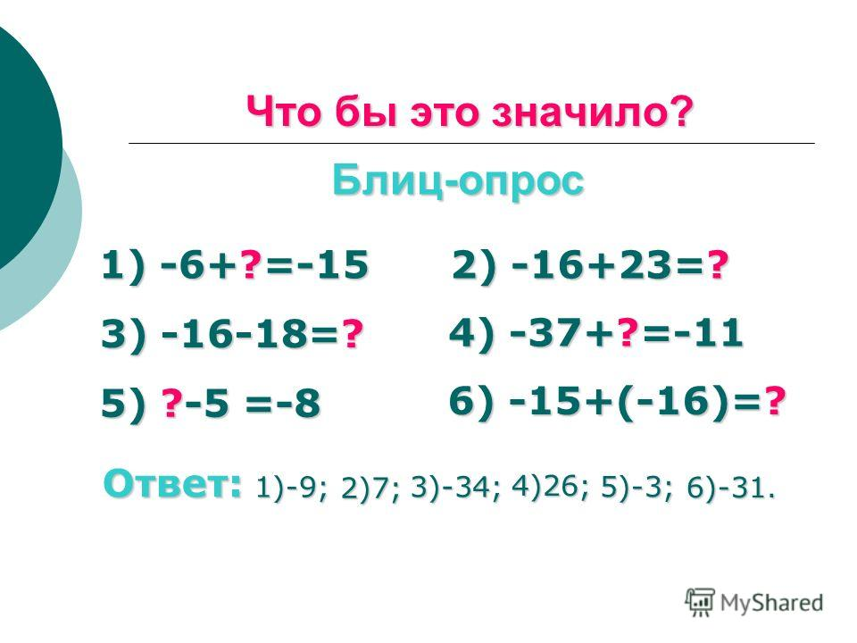Что бы это значило? Блиц-опрос 1) -6+?=-15 2) -16+23=? 3) -16-18=? 4) -37+?=-11 5) ?-5 =-8 6) -15+(-16)=? Ответ: 6)-31. 1)-9; 2)7; 3)-34; 4)26; 5)-3;