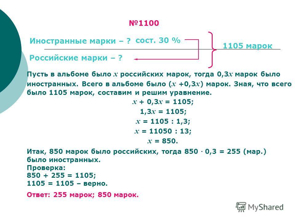 Пусть в альбоме было х российских марок, тогда 0,3 х марок было иностранных. Всего в альбоме было ( х +0,3 х ) марок. Зная, что всего было 1105 марок, составим и решим уравнение. х + 0,3 х = 1105; 1,3 х = 1105; х = 1105 : 1,3; х = 11050 : 13; х = 850
