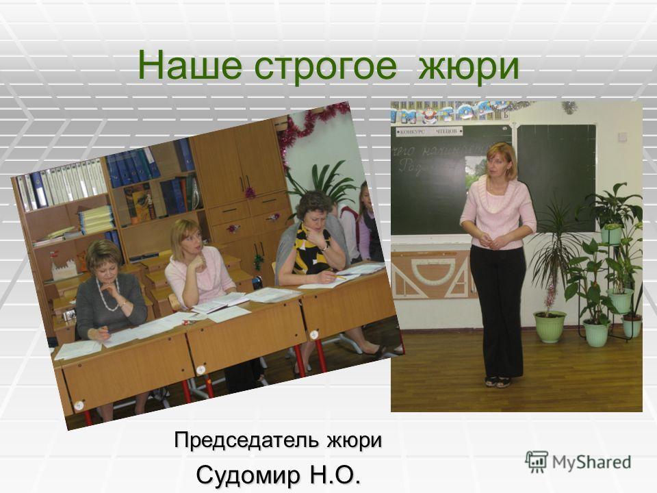 Наше строгое жюри Председатель жюри Судомир Н.О.