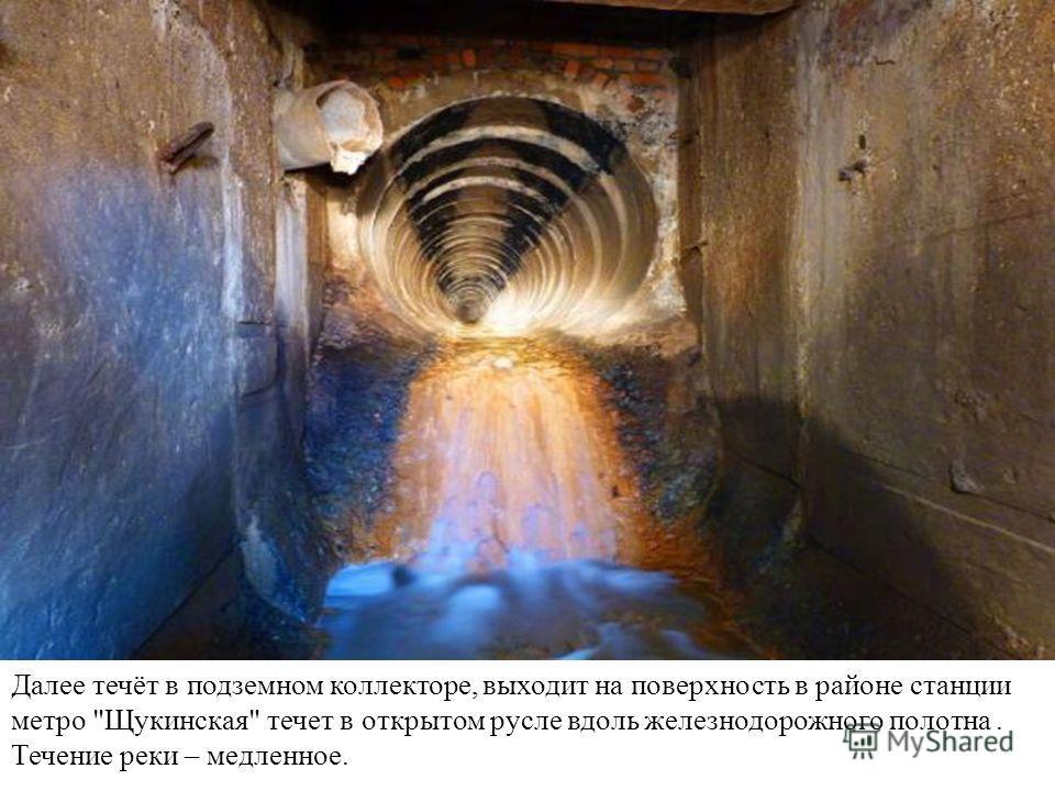 Далее течёт в подземном коллекторе, выходит на поверхность в районе станции метро Щукинская течет в открытом русле вдоль железнодорожного полотна. Течение реки – медленное.