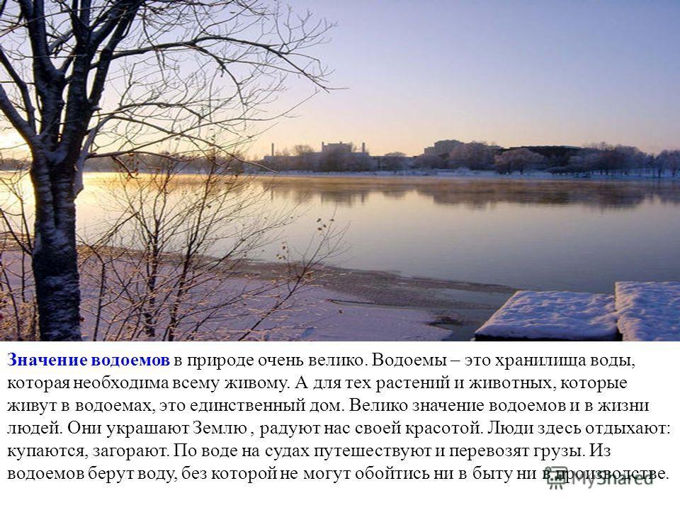 http://mosriver.narod.ru/chernushka5.jpg Значение водоемов в природе очень велико. Водоемы – это хранилища воды, которая необходима всему живому. А для тех растений и животных, которые живут в водоемах, это единственный дом. Велико значение водоемов