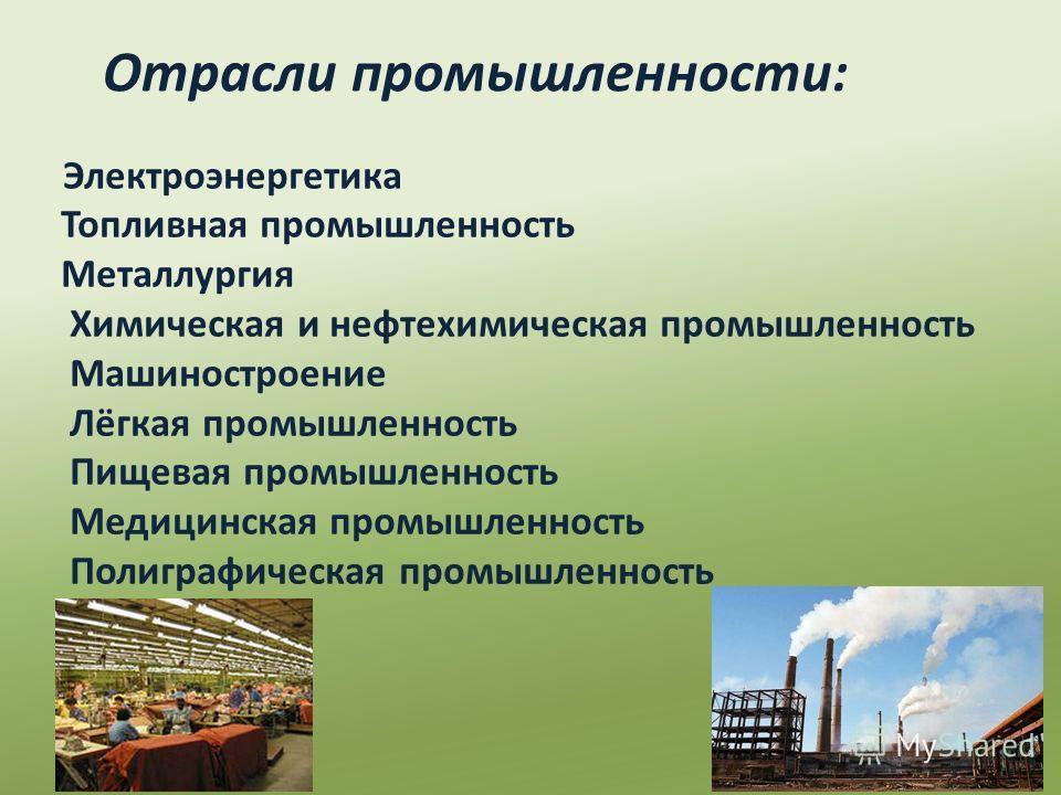 Электроэнергетика Топливная промышленность Металлургия Химическая и нефтехимическая промышленность Машиностроение Лёгкая промышленность Пищевая промышленность Медицинская промышленность Полиграфическая промышленность Отрасли промышленности: