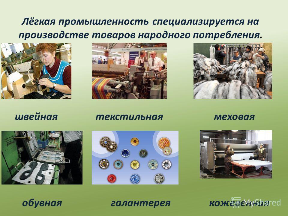 Лёгкая промышленность специализируется на производстве товаров народного потребления. швейнаятекстильнаямеховая обувнаягалантереякожевенная